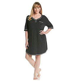 KN Karen Neuburger Plus Size Knit Henley Sleepshirt - Black Dot