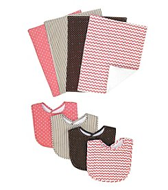 Trend Lab Cocoa Coral Bib and Burp Cloth Bouquet Set