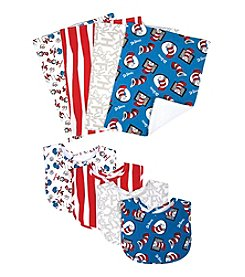 Trend Lab Dr. Seuss Cat and Things Bib and Burp Cloth Set