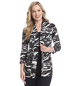 Laura Ashley® Zebra Printed Sweater Knit Cardigan