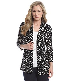 Laura Ashley® Crosshatch Printed Sweater Knit Cardigan