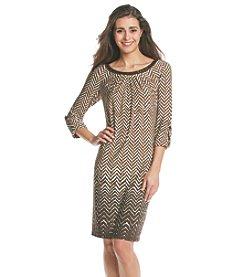 London Times® Petites' Elbow Sleeve Printed Dress