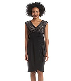 London Times® Sleeveless Lace Surplice Top Mock Wrap Dress
