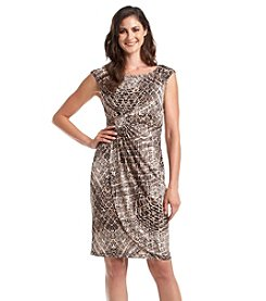 Connected® Petites' Print Dress With Ruched Waist