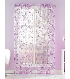 CHF Ribbon Trim Eyelash Floral Tailored Window Panel