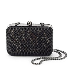 La Regale® Black Leopard Animal Mesh Minaudiere