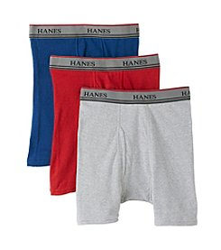 Hanes® Boys' Red/Grey 3-pk. Boxer Briefs