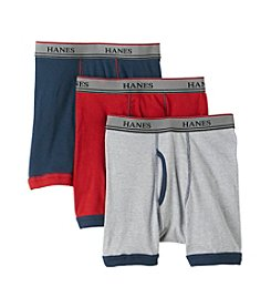 Hanes® Boys' Navy/Red/Grey 3-pk, Ringer Boxer Briefs