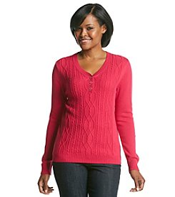 Studio Works® Henley Cable Front Sweater