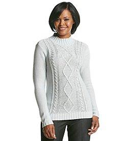 Studio Works® Sequin Cable Mock Neck Sweater