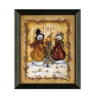 Permanent Frames Snow Folk Hope Christmas Holiday Framed Graphic Art