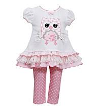 Bonnie Jean® Baby Girls' Pink/White Owl Leggings Set