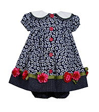 Bonnie Jean® Baby Girls' Navy Button Front Float Dress