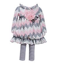 Bonnie Jean® Baby Girls' Pink/Grey Chevron Bubble Set