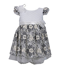 Bonnie Jean® Baby Girls' Ivory Flutter Sleeve Lace Overlay Dress