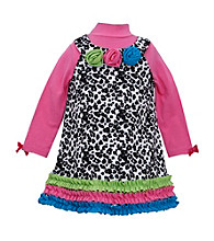 Bonnie Jean® Baby Girls' Black/White Leopard Print Cord Jumper with Rosette Trim