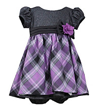 Bonnie Jean® Baby Girls' Black/Purple Plaid Short Sleeve Dress