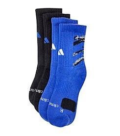 adidas® Boys' Blue 2-pk. Crew Socks