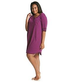 KN Karen Neuburger Plus Size Knit Henley Sleepshirt