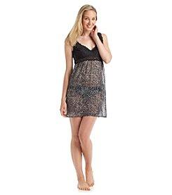 Chanteuse® Lace Chemise - Black/Grey Leopard