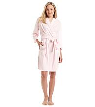 Aria® Knit Short Wrap Robe - Pink Stripe