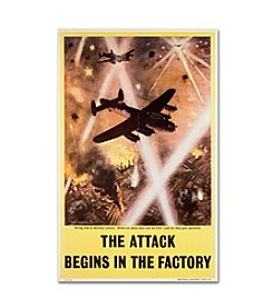 Trademark Fine Art Attack Begins in Factory Propaganda Poster Canvas Art