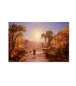 Trademark Fine Art Jasper Cropsey Indian Summer on Delaware River by Jasper Cropsey Canvas Art