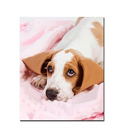 Basset Pup in a Blanket Canvas Art