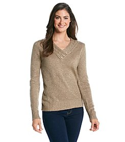 Carolyn Taylor Solid Crossover Sweater