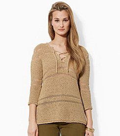 Lauren Ralph Lauren® Open-Knit Lace-Up Top