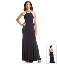 Xscape Beaded Back Long Formal Dress