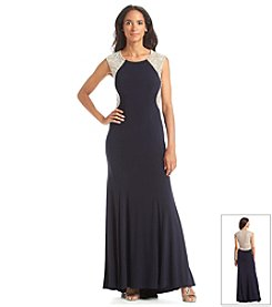 Xscape Beaded Back Long Formal Dress