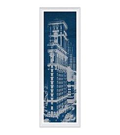 Greenleaf Art Times Square Postcard Blueprint Panel Framed Canvas Art