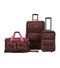Rockland 3-pc. Pink Leopard Luggage Set
