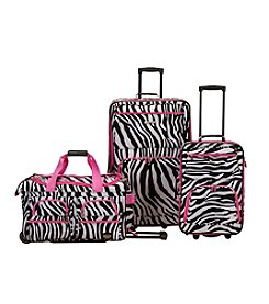 Rockland 3-pc. Pink Zebra Luggage Set