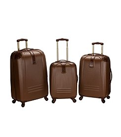 Rockland 3-pc. ABS Spinner Luggage Set with Leatherette Trim