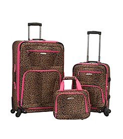 Rockland Pasadena 3-pc. Pink Leopard Luggage Set
