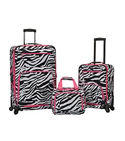 Rockland Pasadena 3-pc. Pink Zebra Luggage Set