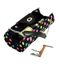 Picnic at Ascot Black Julia Dot Wine Carrier