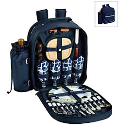 Picnic at Ascot Trellis Blue Picnic Backpack for Four