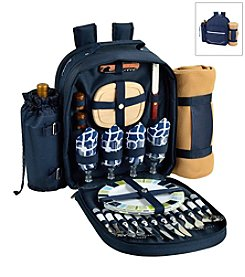 Picnic at Ascot Trellis Blue Picnic Backpack for Four with Blanket