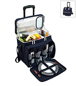 Picnic at Ascot Bold Picnic Cooler for Four on Wheels