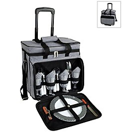 Picnic at Ascot Houndstooth Picnic Cooler for Four on Wheels