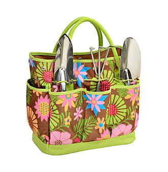 Picnic at Ascot Floral Gardening Tote with Tools