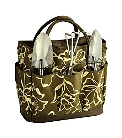 Picnic at Ascot Olive Floral Promenade Gardening Tote with Tools