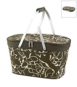 Picnic at Ascot Olive Floral Collapsible Insulated Picnic Basket