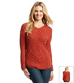 Ruff Hewn Cable Front Shirttail Sweater