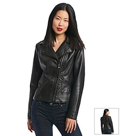 GUESS Reptile Print Faux Leather Moto Jacket