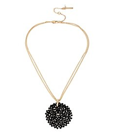 Kenneth Cole® Goldtone/Jet Woven Faceted Bead Round Pendant Necklace
