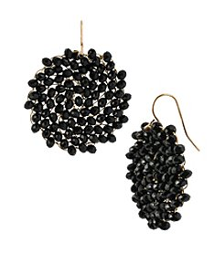 Kenneth Cole® Jet Woven Faceted Bead Round Drop Earrings